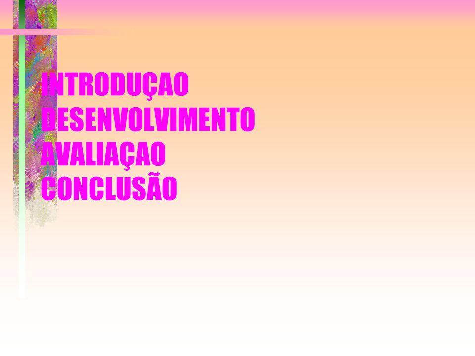 INTRODUÇAO DESENVOLVIMENTO AVALIAÇAO CONCLUSÃO