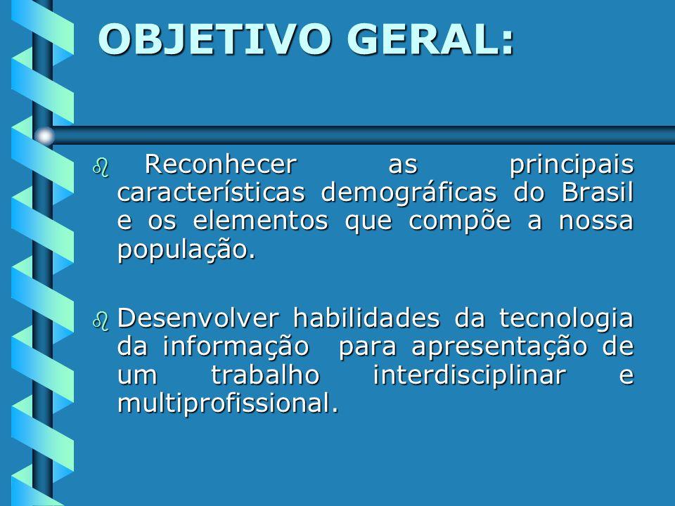 OBJETIVO GERAL: Reconhecer as principais características demográficas do Brasil e os elementos que compõe a nossa população.
