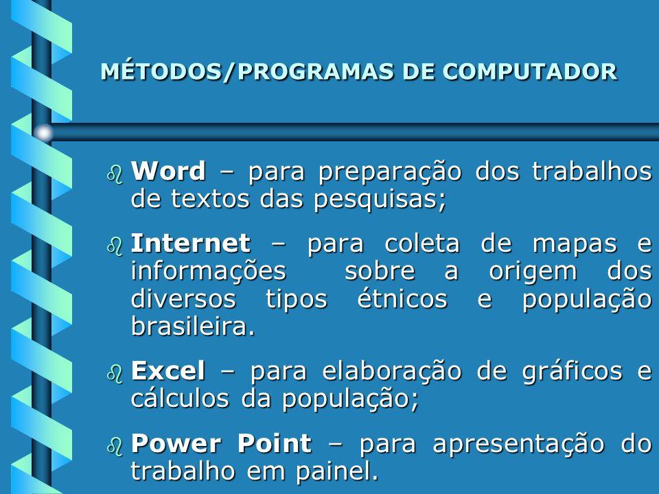 MÉTODOS/PROGRAMAS DE COMPUTADOR