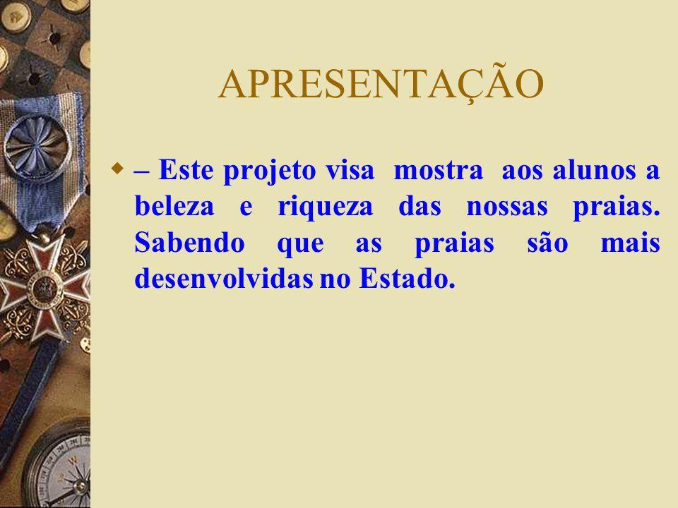 APRESENTAÇÃO – Este projeto visa mostra aos alunos a beleza e riqueza das nossas praias.