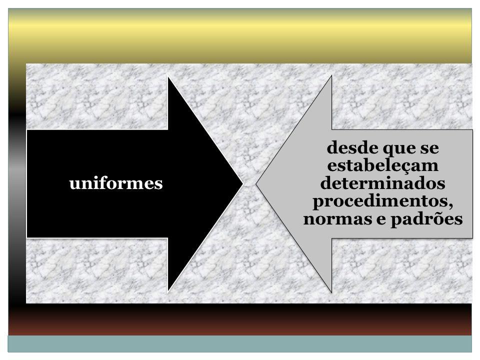 desde que se estabeleçam determinados procedimentos, normas e padrões