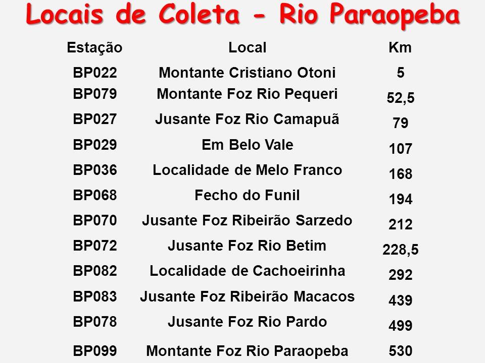 Locais de Coleta - Rio Paraopeba