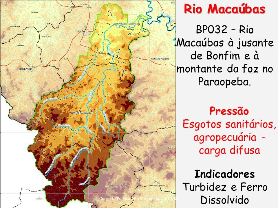 Rio Macaúbas BP032 – Rio Macaúbas à jusante de Bonfim e à montante da foz no Paraopeba. Pressão. Esgotos sanitários, agropecuária - carga difusa.