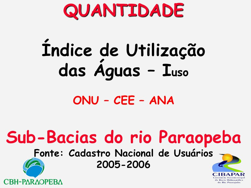 QUANTIDADE Índice de Utilização das Águas – Iuso ONU – CEE – ANA Sub-Bacias do rio Paraopeba Fonte: Cadastro Nacional de Usuários 2005-2006