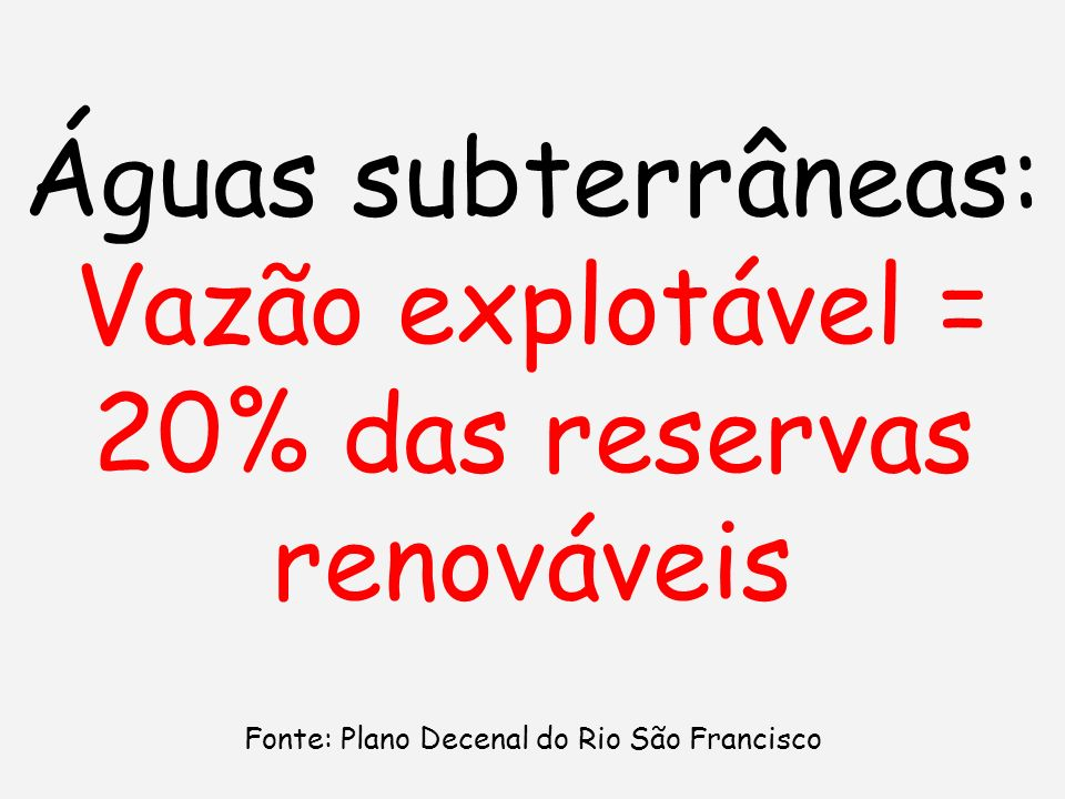 Vazão explotável = 20% das reservas renováveis