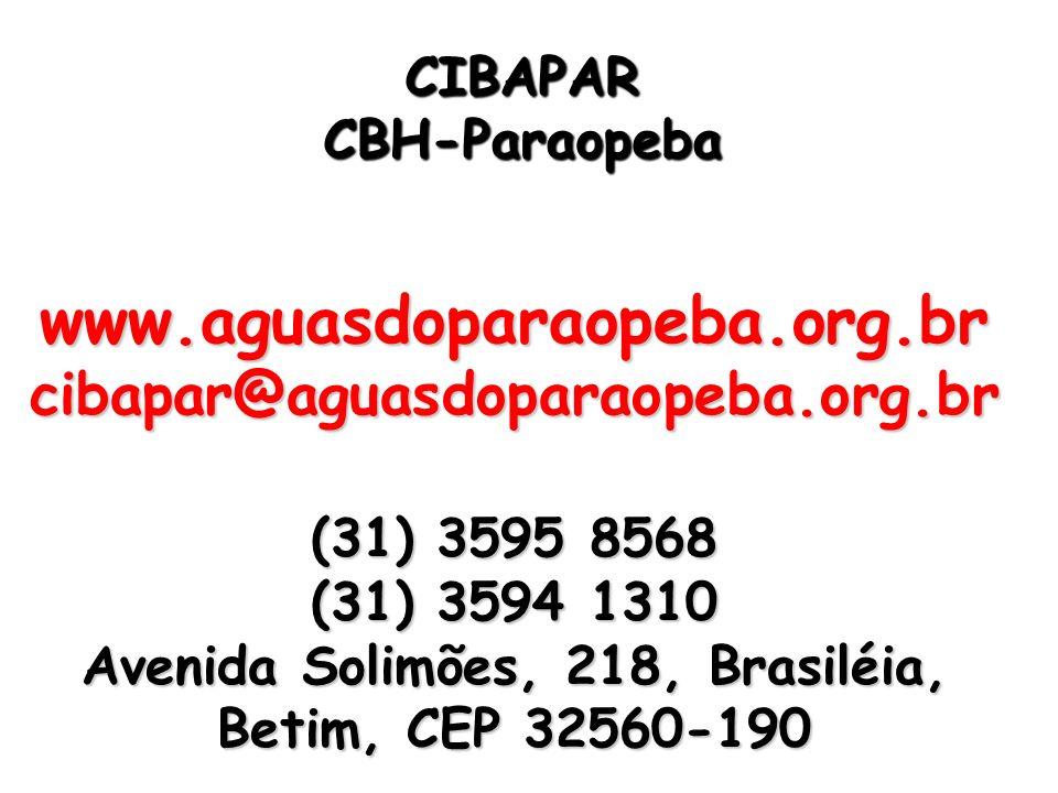 CIBAPARCBH-Paraopeba. www.aguasdoparaopeba.org.br.