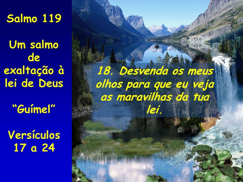 Salmo 119 Um salmo de. exaltação à lei de Deus. Guímel Versículos 17 a 24. 18. Desvenda os meus.
