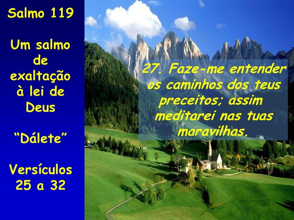 Salmo 119 Um salmo de. exaltação à lei de Deus. Dálete Versículos 25 a 32. 27. Faze-me entender.