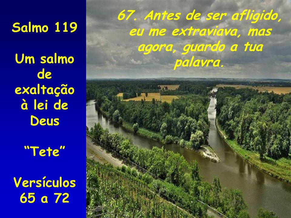 67. Antes de ser afligido, eu me extraviava, mas. agora, guardo a tua. palavra. Salmo 119. Um salmo de.