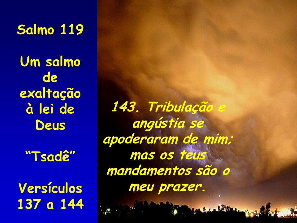 Salmo 119 Um salmo de. exaltação à lei de Deus. Tsadê Versículos 137 a 144. 143. Tribulação e.