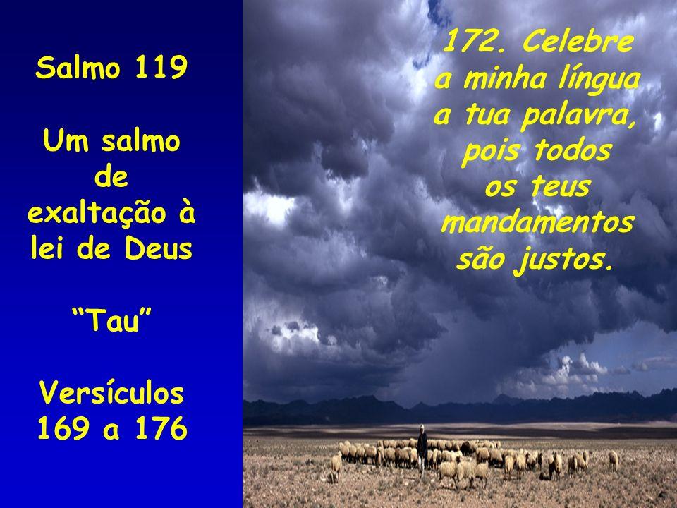 172. Celebre a minha língua. a tua palavra, pois todos. os teus. mandamentos. são justos. Salmo 119.