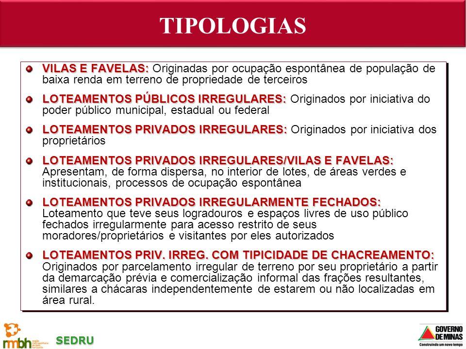 TIPOLOGIAS VILAS E FAVELAS: Originadas por ocupação espontânea de população de baixa renda em terreno de propriedade de terceiros.