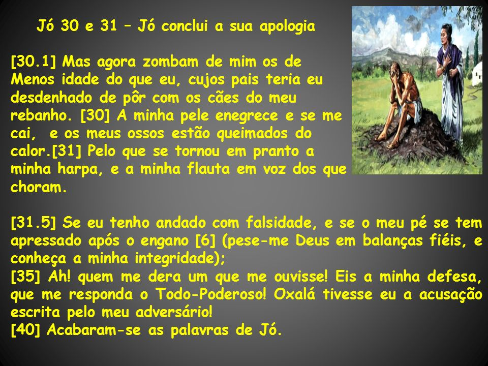 Jó 30 e 31 – Jó conclui a sua apologia