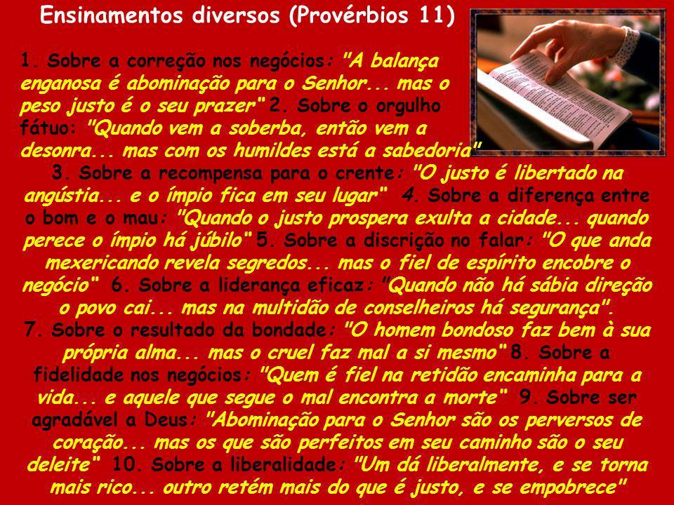 Ensinamentos diversos (Provérbios 11)