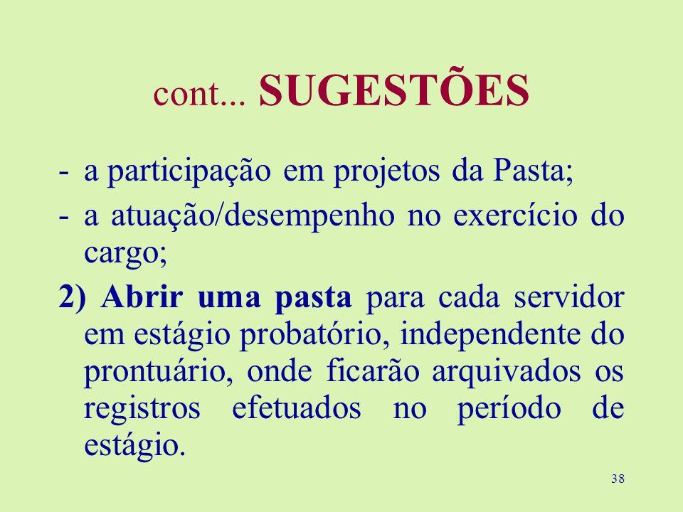 cont... SUGESTÕES a participação em projetos da Pasta;
