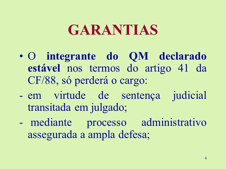 GARANTIAS O integrante do QM declarado estável nos termos do artigo 41 da CF/88, só perderá o cargo: