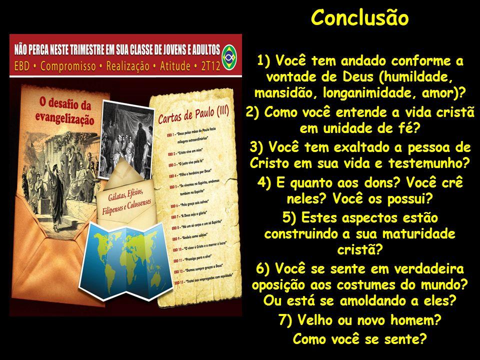 Conclusão 1) Você tem andado conforme a vontade de Deus (humildade, mansidão, longanimidade, amor)