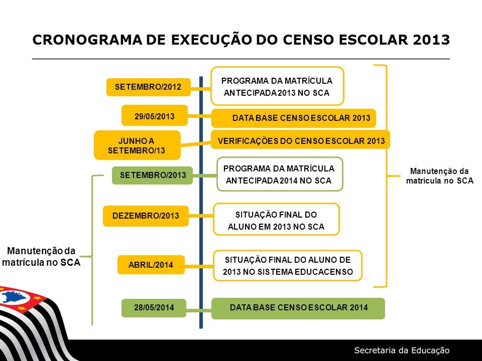 CRONOGRAMA DE EXECUÇÃO DO CENSO ESCOLAR 2013