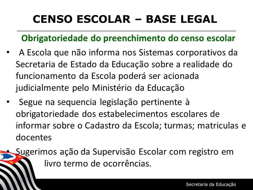 CENSO ESCOLAR – BASE LEGAL