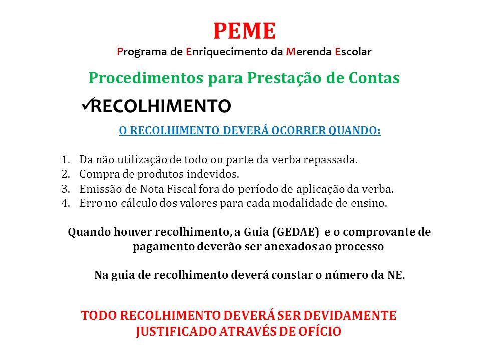 PEME RECOLHIMENTO Procedimentos para Prestação de Contas