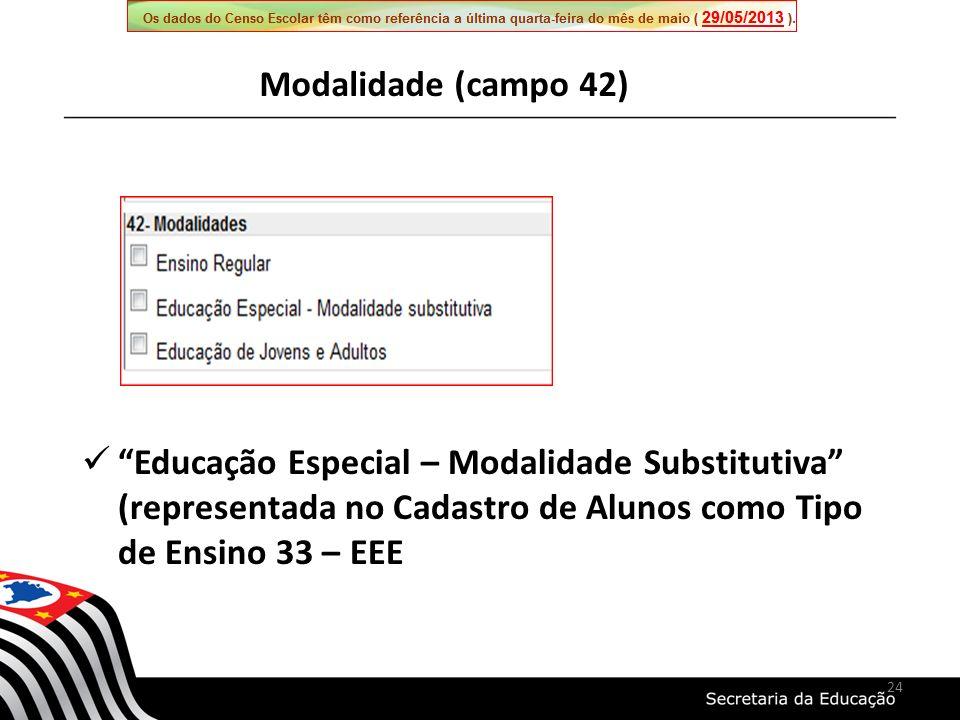 Modalidade (campo 42) Educação Especial – Modalidade Substitutiva (representada no Cadastro de Alunos como Tipo de Ensino 33 – EEE.