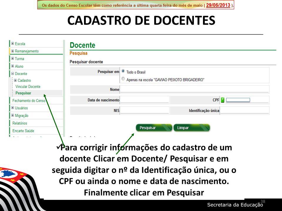 CADASTRO DE DOCENTES