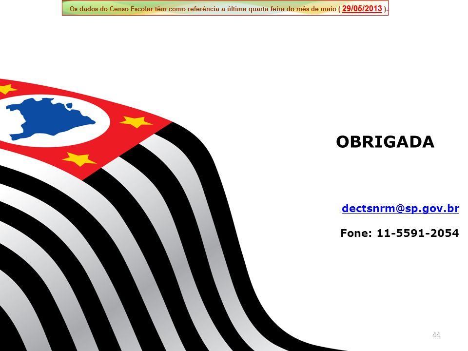 OBRIGADA dectsnrm@sp.gov.br Fone: 11-5591-2054