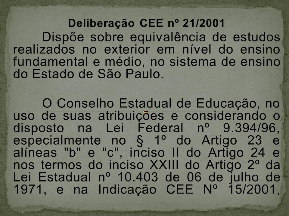 Deliberação CEE nº 21/2001