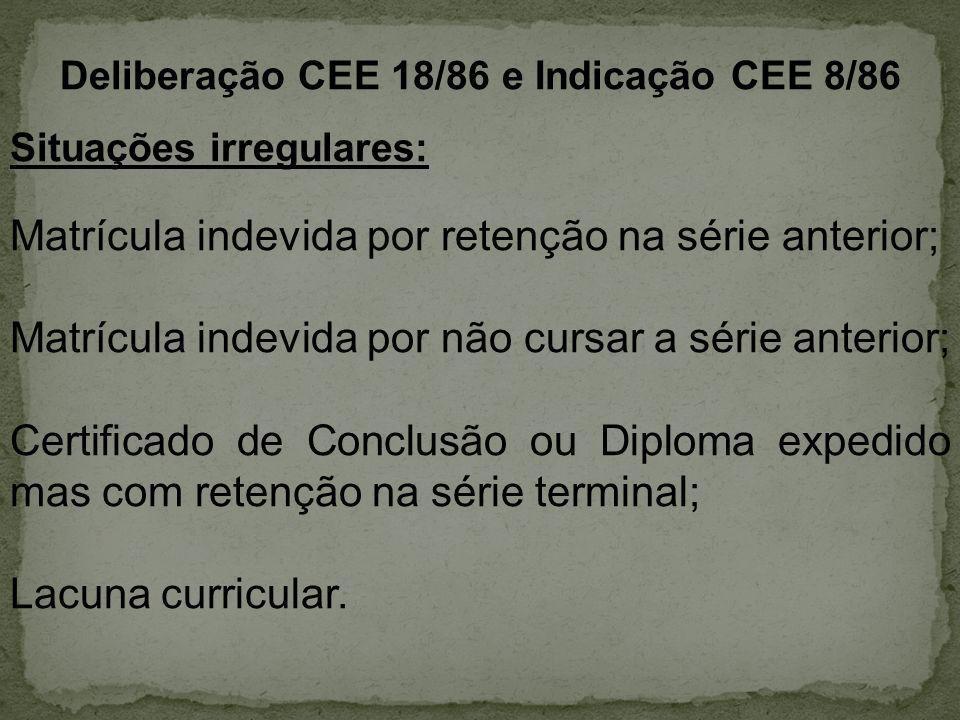 Deliberação CEE 18/86 e Indicação CEE 8/86