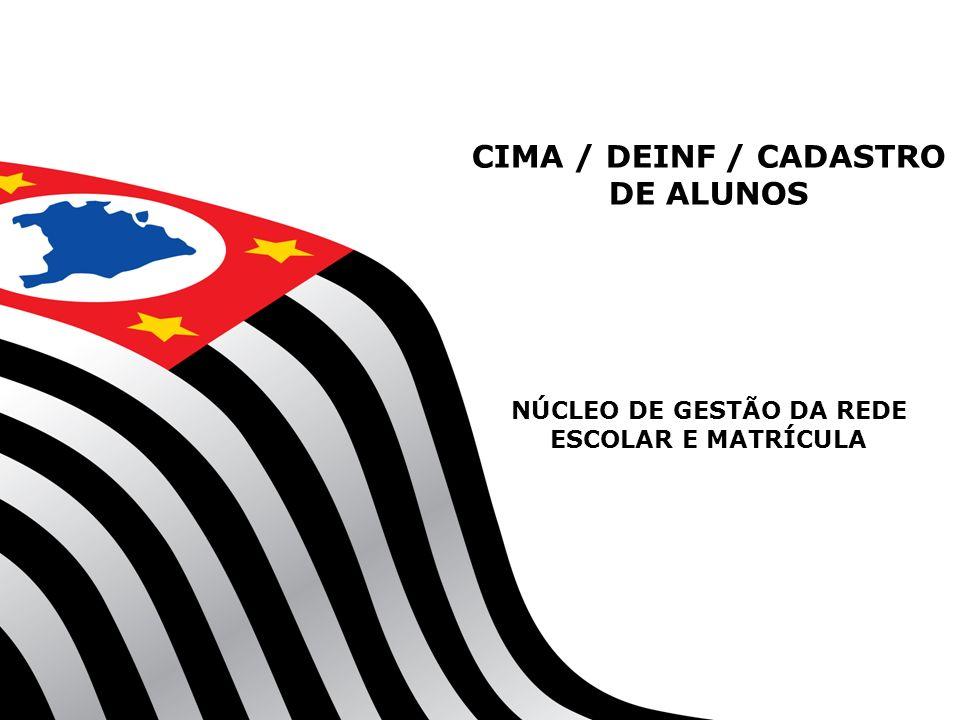 CIMA / DEINF / CADASTRO DE ALUNOS NÚCLEO DE GESTÃO DA REDE ESCOLAR E MATRÍCULA