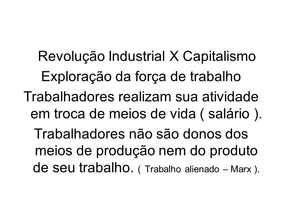 Revolução Industrial X Capitalismo Exploração da força de trabalho