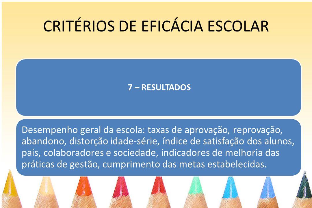CRITÉRIOS DE EFICÁCIA ESCOLAR