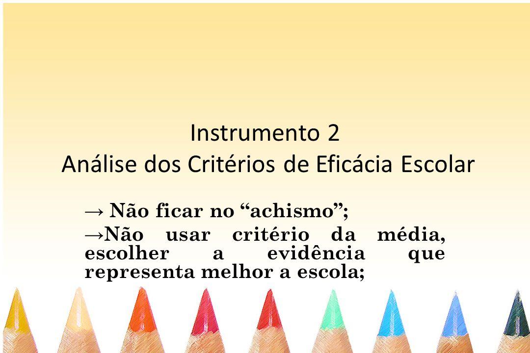 Instrumento 2 Análise dos Critérios de Eficácia Escolar