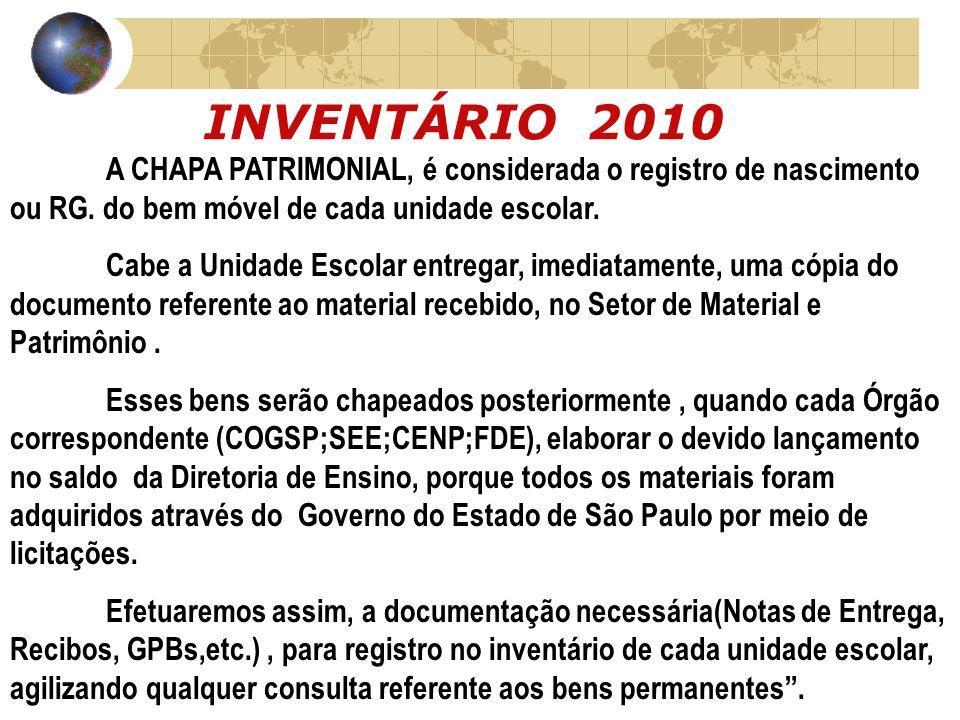 INVENTÁRIO 2010 A CHAPA PATRIMONIAL, é considerada o registro de nascimento ou RG. do bem móvel de cada unidade escolar.