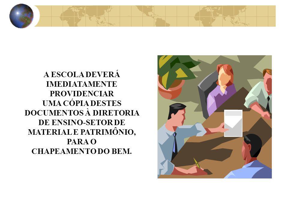 A ESCOLA DEVERÁ IMEDIATAMENTE. PROVIDENCIAR. UMA CÓPIA DESTES DOCUMENTOS À DIRETORIA DE ENSINO-SETOR DE MATERIAL E PATRIMÔNIO,