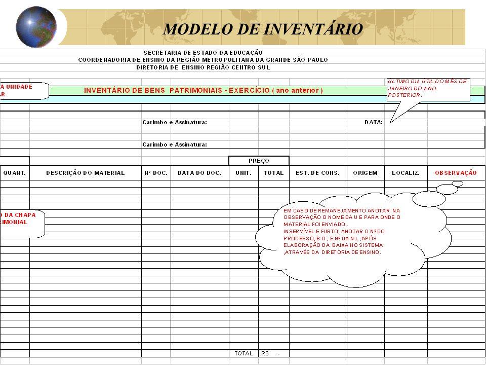 MODELO DE INVENTÁRIO