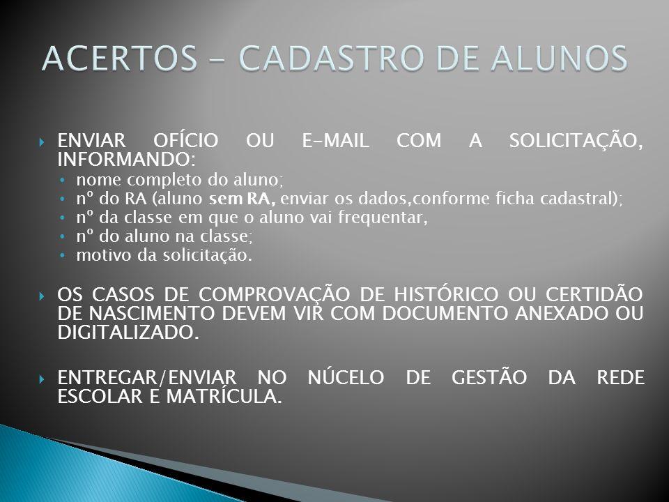 ACERTOS - CADASTRO DE ALUNOS