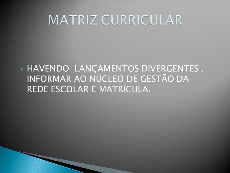 MATRIZ CURRICULAR HAVENDO LANÇAMENTOS DIVERGENTES , INFORMAR AO NÚCLEO DE GESTÃO DA REDE ESCOLAR E MATRÍCULA.