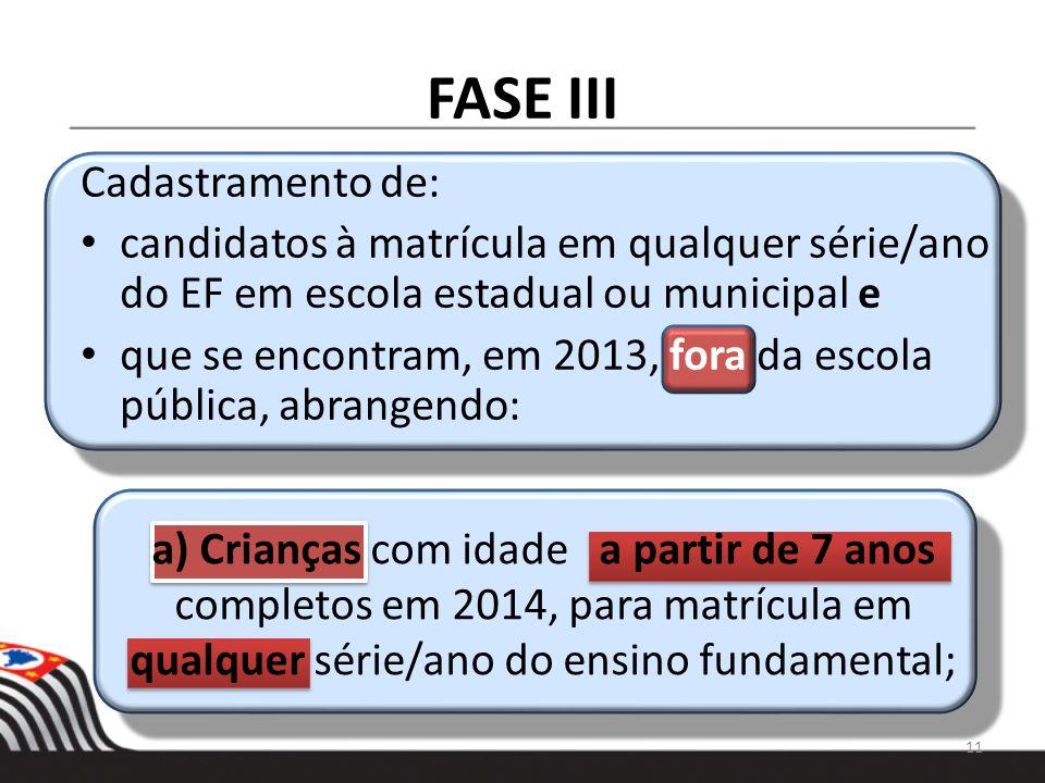 FASE III Cadastramento de: