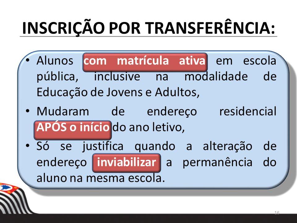 INSCRIÇÃO POR TRANSFERÊNCIA:
