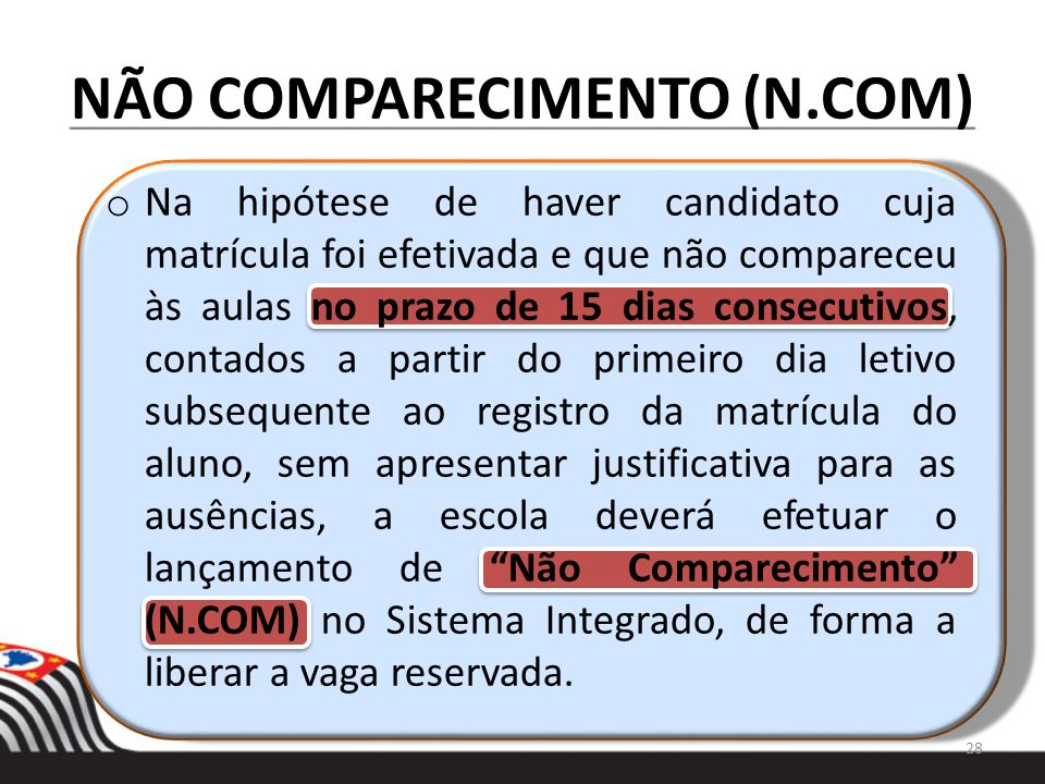 NÃO COMPARECIMENTO (N.COM)