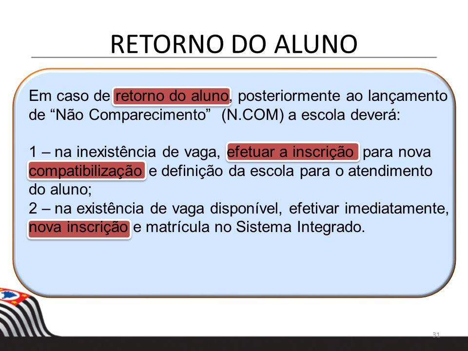 RETORNO DO ALUNO Em caso de retorno do aluno, posteriormente ao lançamento. de Não Comparecimento (N.COM) a escola deverá: