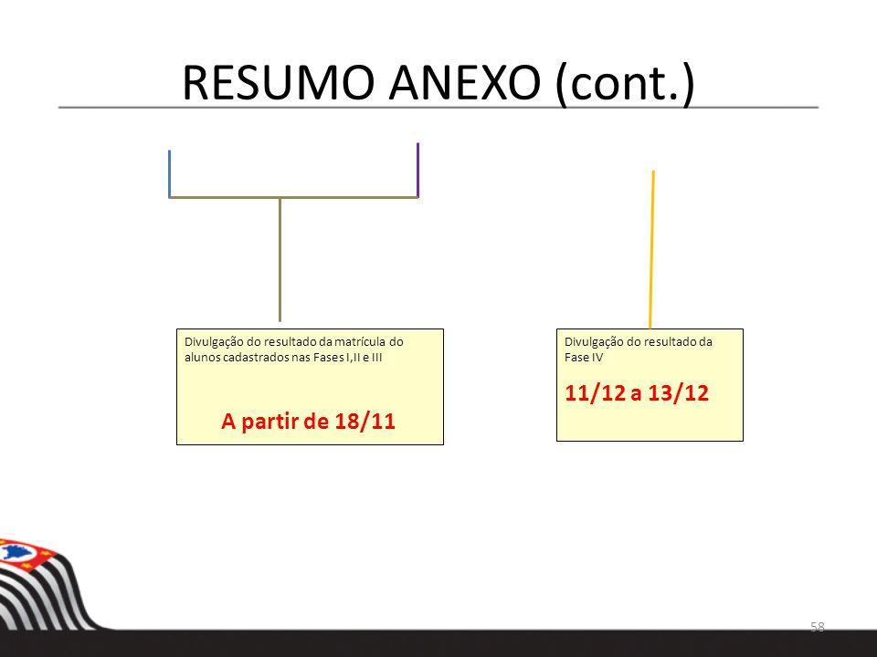 RESUMO ANEXO (cont.) 11/12 a 13/12 A partir de 18/11