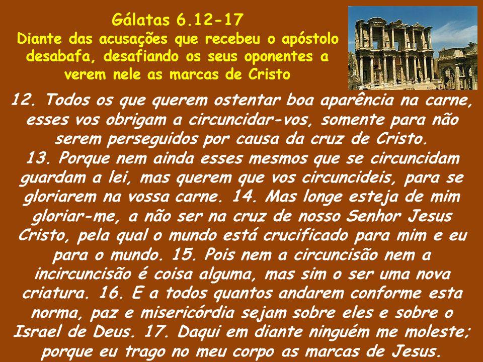 Gálatas 6.12-17 Diante das acusações que recebeu o apóstolo desabafa, desafiando os seus oponentes a verem nele as marcas de Cristo.