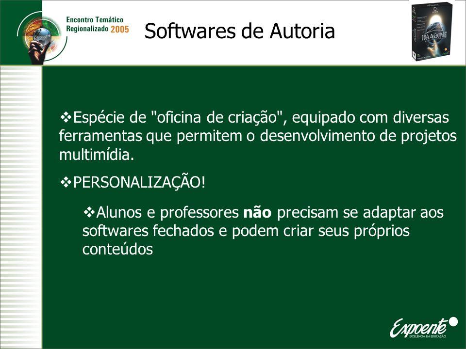 Softwares de Autoria Espécie de oficina de criação , equipado com diversas ferramentas que permitem o desenvolvimento de projetos multimídia.