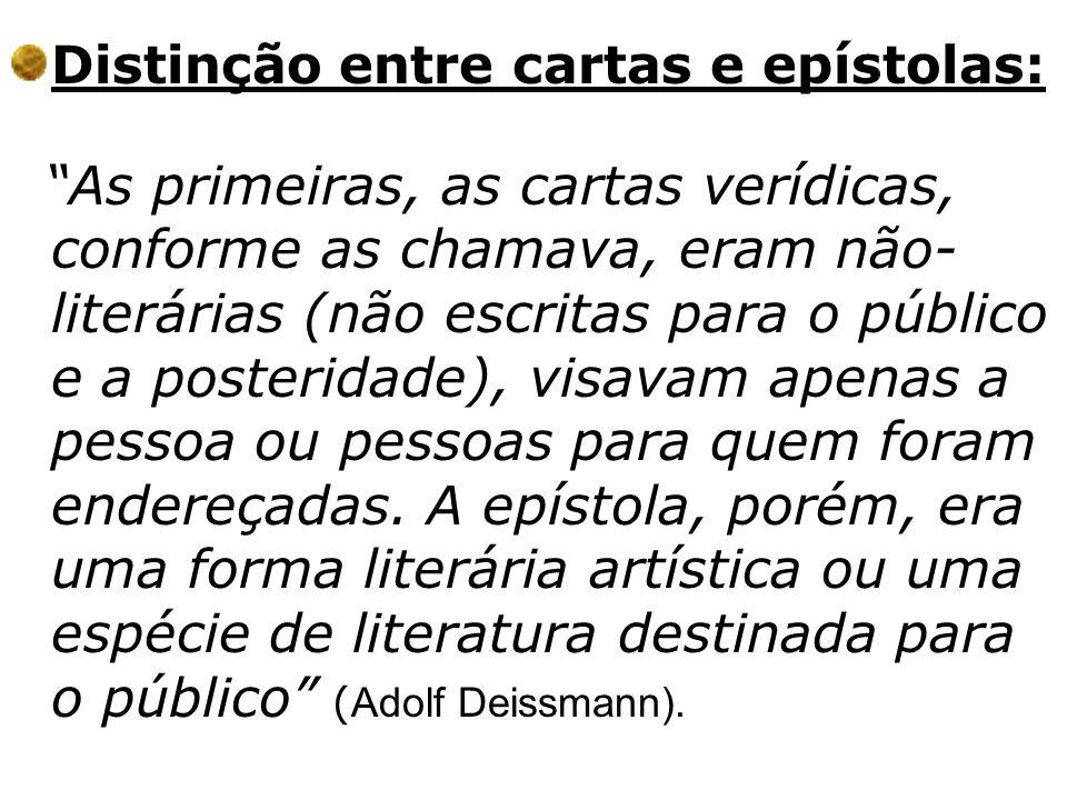 Distinção entre cartas e epístolas:
