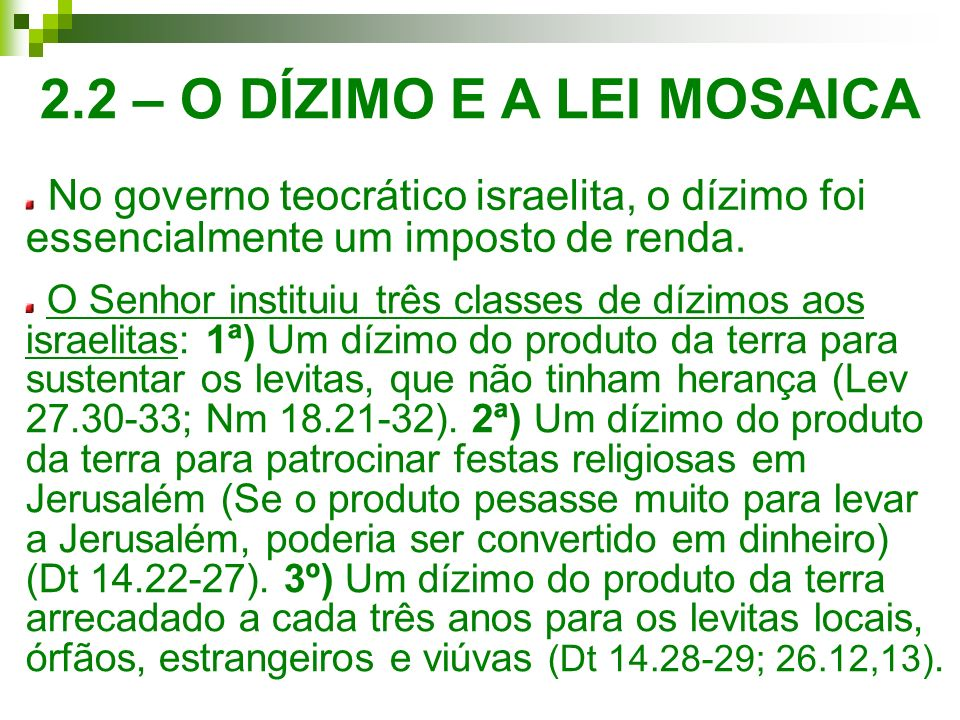 2.2 – O DÍZIMO E A LEI MOSAICA