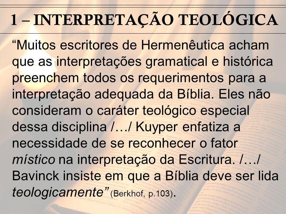 1 – INTERPRETAÇÃO TEOLÓGICA