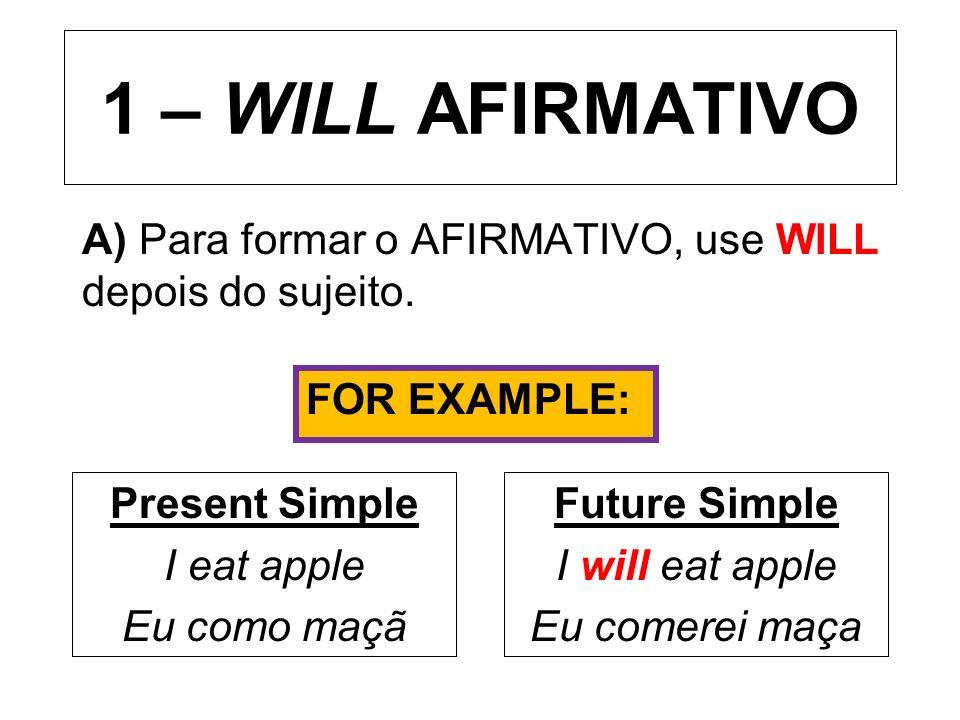A) Para formar o AFIRMATIVO, use WILL depois do sujeito.