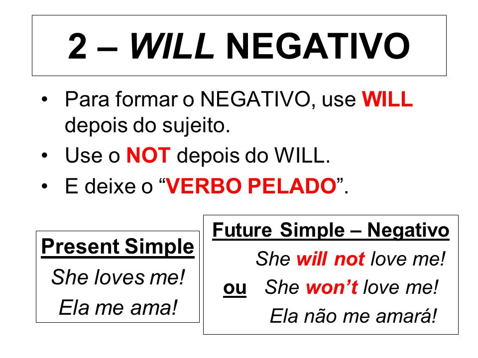 Future Simple – Negativo